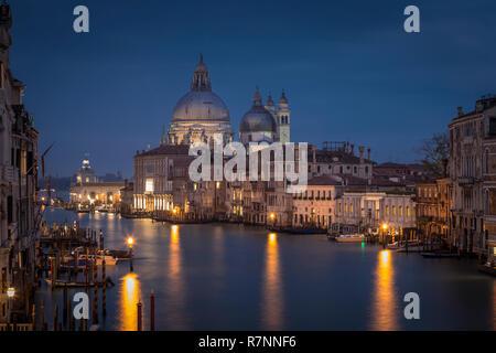 Canal Grande mit Santa Maria della Salute Kirche bei Nacht von Accademia Brücke, Venedig, Italien