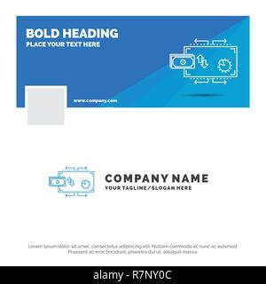 Blue Business Logo Vorlage für Finanzen, Flow, Marketing, Geld, Zahlungen. Facebook Timeline Banner Design. Vektor Web Banner hintergrund abbildung - Stockfoto