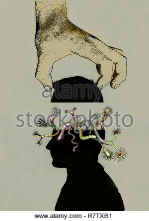 Hand heben ab Kopf voll von seltsamen Fabelwesen - Stockfoto