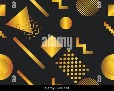 Memphis nahtlose Muster mit geometrischen Formen und golden Gradienten. Retro Stil 80er Jahre. Vector Illustration - Stockfoto