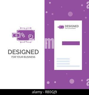 Business Logo für Finanzen, Flow, Marketing, Geld, Zahlungen. Vertikale Lila Business/Visitenkarte vorlage. Kreative Hintergrund Vektor illustratio - Stockfoto