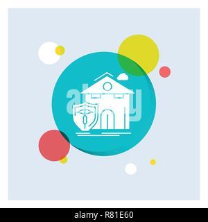 Versicherung, Heim, Haus, Unfall, Schutz weiß Glyph Icon Bunter Kreis Hintergrund - Stockfoto