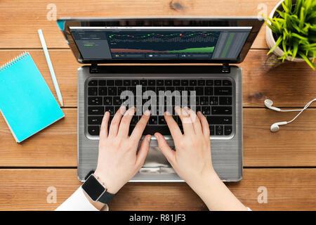Hände mit cryptocurrency auf dem Laptop Bildschirm - Stockfoto