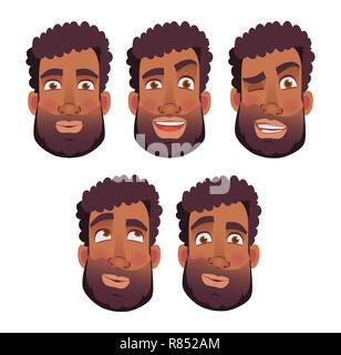 Gesicht der afrikanischen Menschen. Gefühle der afrikanischen amerikanischen Mann Gesicht. Abbildung - Stockfoto