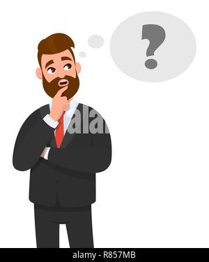 Nachdenkliche junge Geschäftsmann denken. Fragezeichensymbol in Gedanken Blase. Emotion und Körpersprache Konzept im Comic-stil Vector Illustration. - Stockfoto