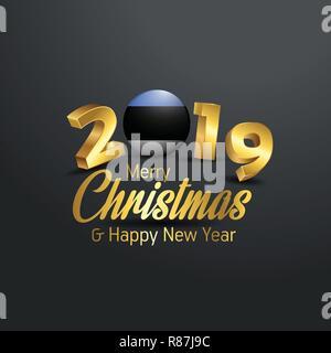 Estland Flag 2019 Frohe Weihnachten Typografie. Neues Jahr abstrakten Feier Hintergrund - Stockfoto