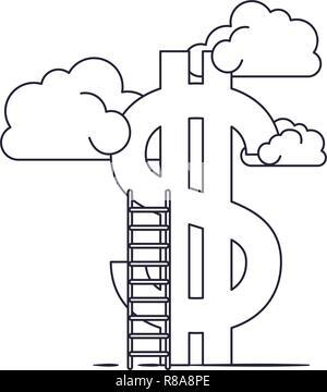 Wolken mit Dollarzeichen und Leiter - Stockfoto
