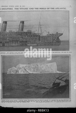 Schnittbild der 'Titanic', und Iceberg, 20. April 1912. Schöpfer: Unbekannt. - Stockfoto