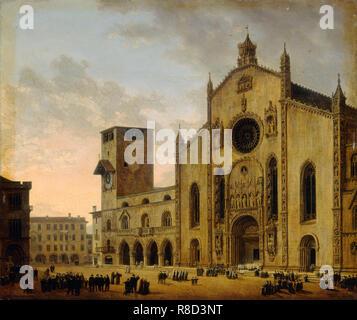 Eine religiöse Prozession auf dem Cathedral Square in Como, 1817. - Stockfoto