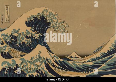 """Die große Welle an der Küste von Kanagawa (aus der Serie """"36 Ansichten des Berges Fuji""""), 1830-1833. - Stockfoto"""