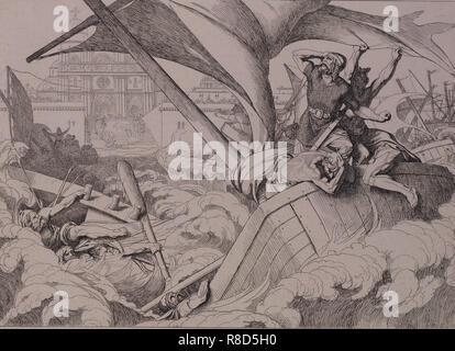 Die Zerstörung der Rus Flotte in Konstantinopel, 1832. Stockfoto