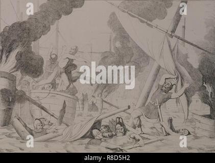 Griechische Feuer während der Belagerung von Konstantinopel, 1832. - Stockfoto