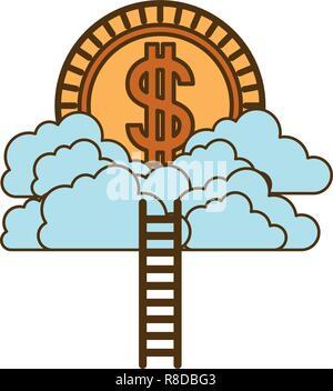 Münze mit Dollar auf Wolken und Treppen - Stockfoto