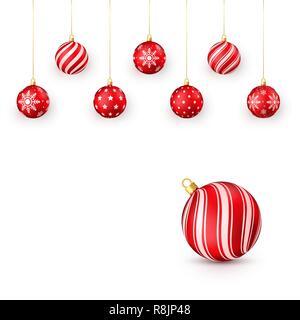 Dekorative rote Weihnachtskugeln eingestellt. Vector Illustration auf weißem Hintergrund - Stockfoto