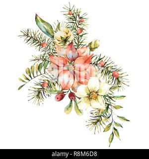 aquarell vintage blumen gru karte neues jahr dekoration mit weihnachtsstern kiefer zweige. Black Bedroom Furniture Sets. Home Design Ideas