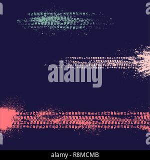 Drei verschiedene Reifenspur auf dunklem Hintergrund - Stockfoto