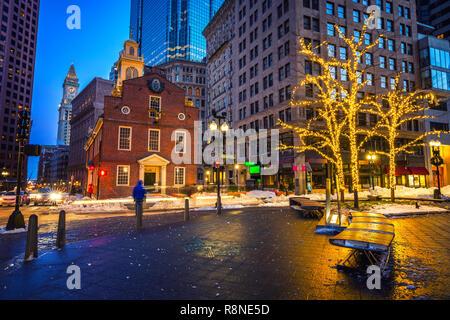 Boston Old State House in der Nacht - Stockfoto