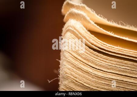 - Nahaufnahme Makro alten Vintage getragen meliert Rand fotografiert Seiten eines offenen Buches - Stockfoto