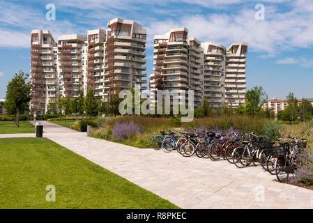 Horizontale Ansicht der Libeskind Residenzen in Mailand, Italien. - Stockfoto
