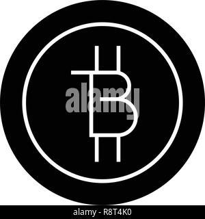 Bitcoins Technologie schwarz Vektor Konzept Symbol. Bitcoins Technologie flachbild Illustration, Zeichen - Stockfoto