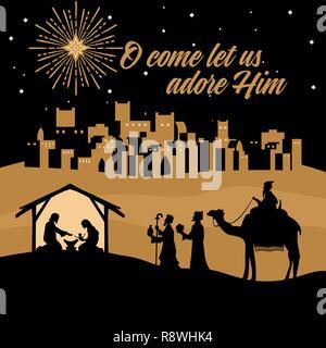 Biblische Illustration. Weihnachtsgeschichte. Maria und Josef mit dem Jesuskind. Krippe in der Nähe der Stadt Bethlehem. Weisen Sie auf Christus anzubeten. - Stockfoto