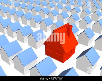 Rot 3d Haus mit row identische Häuser - Stockfoto