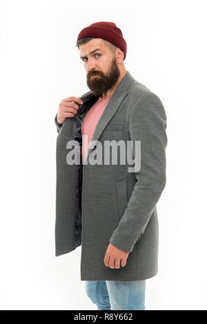 51e470884a0d Finden Outfit Stil Sie sich wohl fühlen. Man bärtige hipster Elegante  modische Mantel und Hut