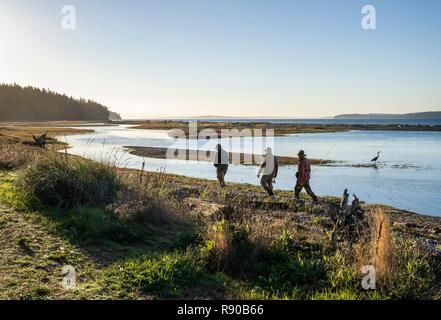 Zwei fliegen Fischer und ein Führer zu Fuß vorbei an einer Great Blue Heron entlang einer Salz Wasser Strand Mündung beim Angeln für searun Küsten Halsabschneider Forellen und Salm - Stockfoto