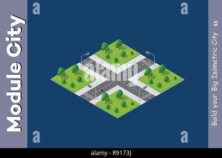 Straßen der Stadt park Garten der Stadt Landschaft. 3D-isometrische Ansicht von den Straßen und Gassen. Dreidimensionale Darstellung der Skyline. - Stockfoto