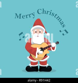 santa claus mit einer gitarre cartoon singen stockfoto. Black Bedroom Furniture Sets. Home Design Ideas