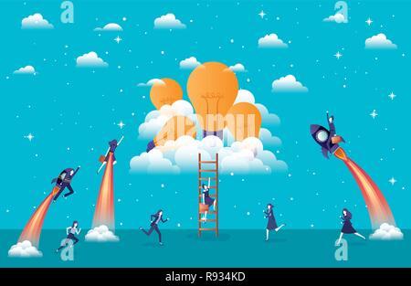 Geschäftsfrauen fliegen in Raketen starten mit Glühlampen - Stockfoto