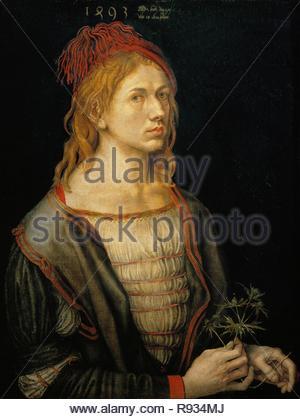 Albrecht Dürer, Selbstbildnis, 1493 Öl auf Papier auf Leinwand, 56,5 x 44,5 cm RF 2382 (auch unter 40-13-02/4). Thema: Dürer, Albrecht. Lage: Louvre, Dpt. des Peintures, Paris, Frankreich. - Stockfoto