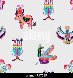 Nahtlose Muster mit Marker Zeichnung alten ägyptischen Sym - Stockfoto