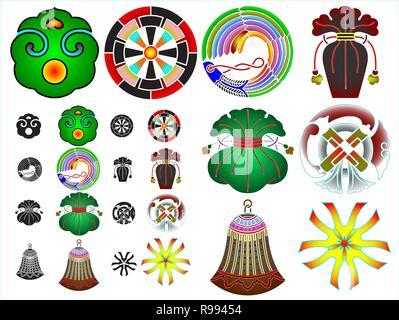 Japanisch, Kamon, traditionelle, Symbol, Familie, Abstammung, Crest, Design, Mon, Wappen, alte, Mondokoro, Familienwappen, - Stockfoto