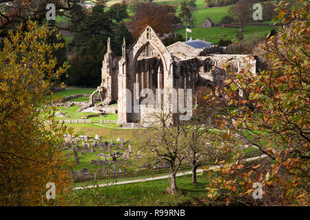 Bolton Abbey, Priorat Ruinen im Herbst, North Yorkshire Dales - Stockfoto