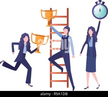 Business Frauen mit set Symbole - Stockfoto