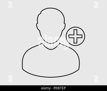 Erhöhen oder Benutzer Symbol Leitung auf grauem Hintergrund hinzufügen - Stockfoto