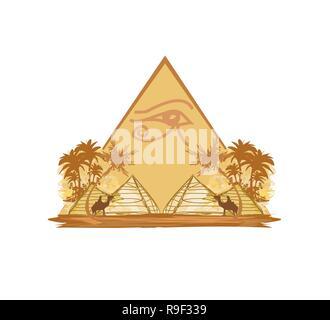 Ägypten-Symbole und Pyramiden - Stockfoto