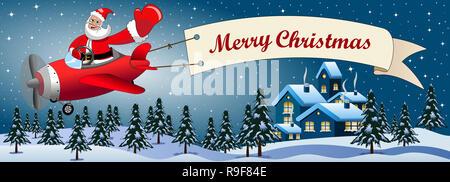 Frohe Weihnachten Flugzeug.Santa Claus Fliegen Sein Flugzeug Mit Happy Holidays Banner