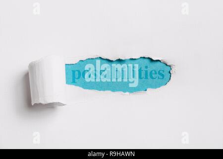 Zerrissenen weißen Papier enthüllt (Word) Möglichkeiten in Blau. Konzept Bild.