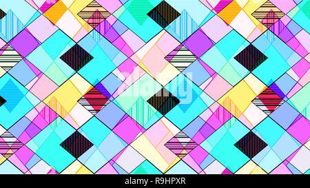Zusammenfassung Hintergrund, bestehend aus mehrfarbigen Rauten und Zickzack - Stockfoto