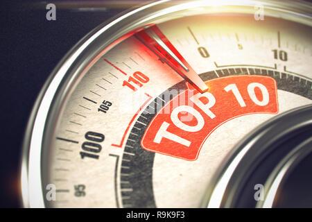 3D der ein Messgerät mit einem roten Nadel nach der Aufschrift Top 10. Geschäfts- und Marketingkonzept. Top 10 - Konzeptionelle Kompass mit roter Beschriftung. Hori - Stockfoto