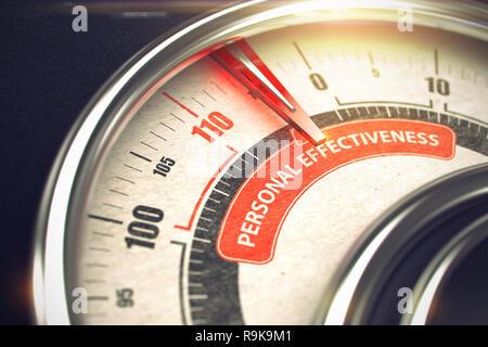 3D-Kompass mit roten Nadel nach dem Text der persönlichen Effektivität. Geschäftskonzept. 3D. - Stockfoto