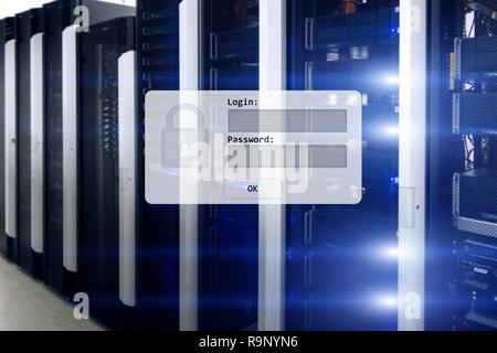Serverraum, Login und Passwort anfordern, den Zugriff auf diese Daten und die Sicherheit. - Stockfoto