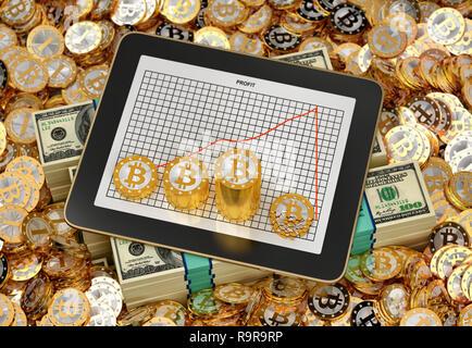 Bitcoin Crash-Tablet mit Gewinn Chart mit Stapeln von golden Bitcoins - 3D-Rendering - Stockfoto