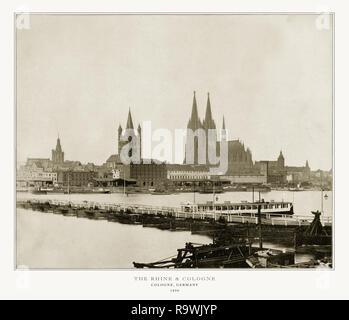 Den Rhein und Köln, Deutschland, antiken deutschen Fotografie, 1893 - Stockfoto