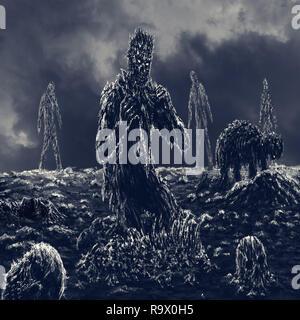 Beängstigend zombie sitzt und isst. Abbildung im Horror Genre. - Stockfoto