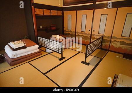 Traditionelle Japanische Schlafzimmer Mit Tatami Matten Und Futon