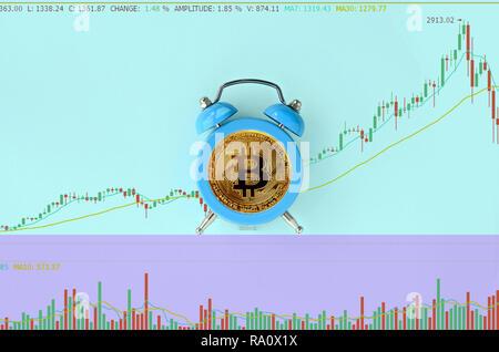 Bitcoin blau Wecker auf blauem Hintergrund mit Börse Chart. Zeit und Termin ist das Wachstum des Geldes Konzept