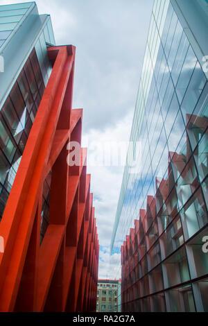 Fassade der menschlichen Evolution Museum. Burgos, Spanien. - Stockfoto